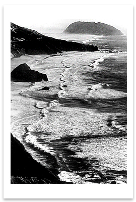 POINT SUR, STORM, MONTEREY COAST, CA, c 1950 - ANSEL ADAMS NOTECARD
