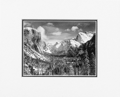 "YOSEMITE VALLEY FROM INSPIRATION POINT, WINTER, YOSEMITE NATIONAL PARK  Large Ansel Adams Matted Reproduction (16"" x 20"")"