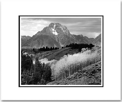 "ANSEL ADAMS - MOUNT MORAN, AUTUMN, GRAND TETON NAT'L PARK. Large Ansel Adams Matted Reproduction (16"" x 20"")"