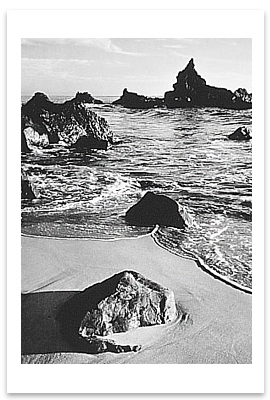 SURF AND ROCK, MONTEREY COUNTY COASTLINE, CA, 1951 - ANSEL ADAMS NOTECARD