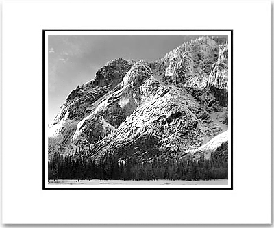 "ANSEL ADAMS - CLIFFS OF GLACIER POINT, YOSEMITE NAT'L PARK. Large Ansel Adams Matted Reproduction (16"" x 20"")"