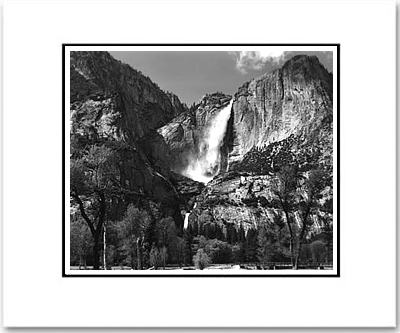 ANSEL ADAMS - YOSEMITE FALLS AND MEADOW, YOSEMITE NAT'L PARK   Large Ansel Adams Matted Reproduction