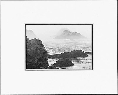ANSEL ADAMS - SHORELINE IN FOG - SMALL MATTED REPRO