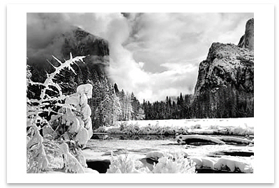 GATES OF THE VALLEY, YOSEMITE VALLEY, CA, c 1938 - ANSEL ADAMS NOTECARD<BR> (OUT OF STOCK)