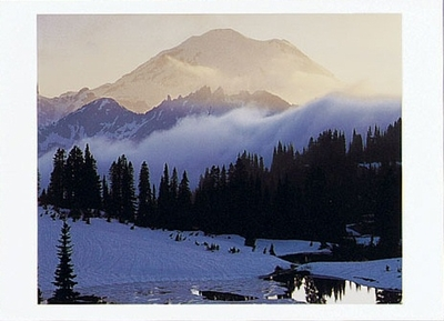 CHARLES GURCHE - MOUNT RAINIER AT SUNSET FROM TISPOO LAKE, MOUNT RAINIER NATIONAL PARK, WA - HOLIDAY CARD