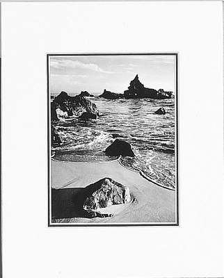 ANSEL ADAMS - SURF AND ROCK - SMALL MATTED REPRO