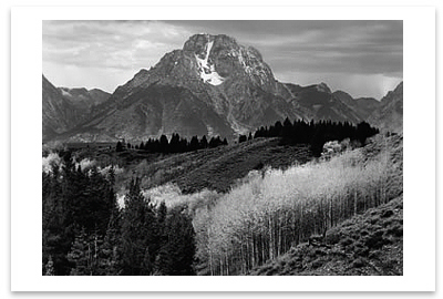 MOUNT MORAN, AUTUMN, GRAND TETON NATIONAL PARK, WY, 1948 - ANSEL ADAMS NOTECARD