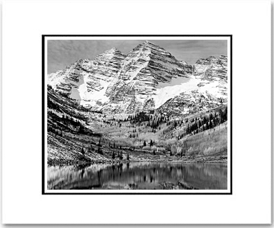 ANSEL ADAMS - MAROON BELLS, NEAR ASPEN, COLORADO - SMALL MATTED REPRO