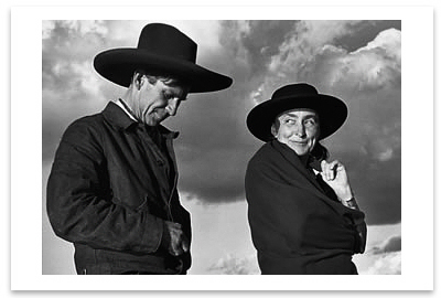 GEORGIA O'KEEFFE AND ORVILLE COX, CANYON DE CHELLY NATIONAL MONUMENT, AZ , 1937 - ANSEL ADAMS NOTECARD