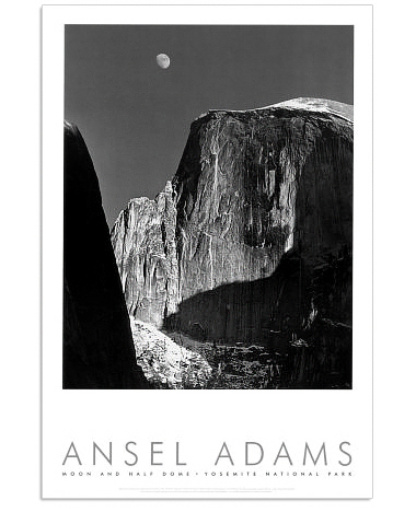 ANSEL ADAMS - MOON & HALF DOME, YOSEMITE, 1960- AUTHORIZED EDITION POSTER