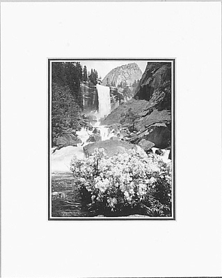 ANSEL ADAMS - VERNAL FALL AND AZALEAS - SMALL MATTED REPRO