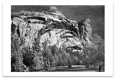 NORTH DOME, ROYAL ARCHES, WASHINGTON COLUMN, WINTER, YOSEMITE NATIONAL PARK, CA, c 1940 - ANSEL ADAMS NOTECARD