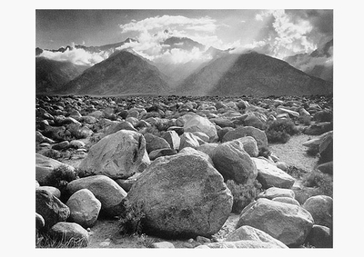 ANSEL ADAMS: MOUNT WILLIAMSON, SIERRA NEVADA FROM MANZANAR, CA, 1944, SMALL POSTCARD (OUT OF STOCK)