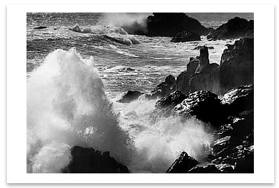 SURF AND ROCKS, TIMBER COVE, CA, c 1960 - ANSEL ADAMS NOTECARD