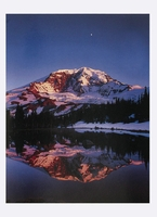 MOON OVER MOUNT RAINIER AND REFLECTION IN ALPINE TARN, MOUNT RAINIER NATIONAL PARK, WA - HOLIDAY CARDS