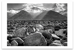 MOUNT WILLIAMSON, SIERRA NEVADA FROM MANZANAR, CA, 1944  - ANSEL ADAMS LARGE POSTCARD (OUT OF STOCK)