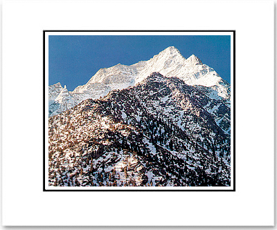 ANSEL ADAMS - LONE PINE PEAK, WINTER, SUNRISE - SMALL MATTED REPRO