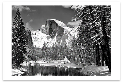 ANSEL ADAMS - HALF DOME,  MERCED RIVER, WINTER, YOSEMITE NATIONAL PARK, CA, c 1938 - SMALL POSTCARD