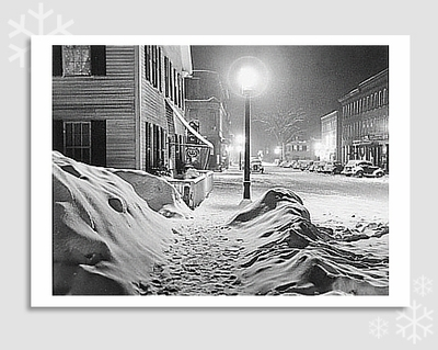 "SNOWY NIGHT, WOODSTOCK, VT, 1940 - MARION POST WOLCOTT  HOLIDAY CARD ""SEASON'S GREETINGS"""