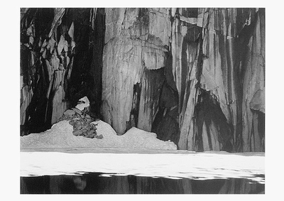 ANSEL ADAMS: FROZEN LAKE AND CLIFFS, SIERRA NEVADA, 1932, SMALL POSTCARD