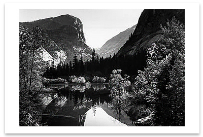 ANSEL ADAMS - MIRROR LAKE AND MOUNT  WATKINS, YOSEMITE NATIONAL PARK, CA - SMALL POSTCARD