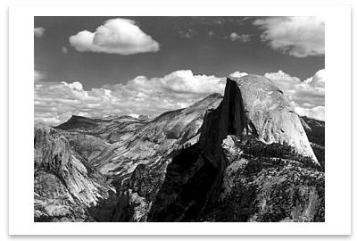 ANSEL ADAMS - HALF DOME AND CLOUDS,  YOSEMITE   NATIONAL PARK, CA, c 1968 -  SMALL POSTCARD