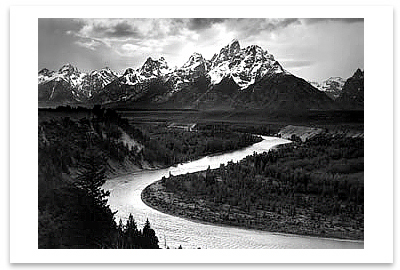ANSEL ADAMS - THE TETONS AND THE SNAKE RIVER, GRAND TETON NATIONAL PARK, WY, c 1942 - SMALL POSTCARD
