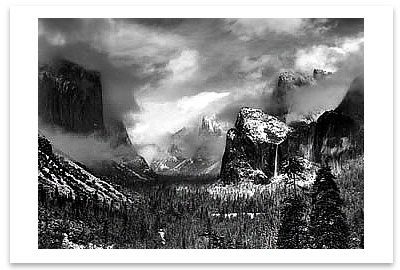 ANSEL ADAMS - CLEARING WINTER STORM, YOSEMITE NATIONAL PARK, CA, c 1944 -  SMALL POSTCARD