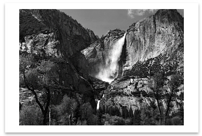 ANSEL ADAMS - YOSEMITE FALLS AND MEADOW, YOSEMITE NATIONAL PARK, CA, c 1953 - SMALL POSTCARD