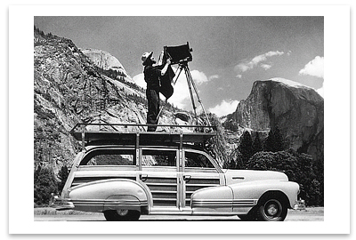 CEDRIC WRIGHT -ANSEL ADAMS PHOTOGRAPHING IN YOSEMITE VALLEY - SMALL POSTCARD