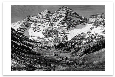 MAROON BELLS, NEAR ASPEN, CO, 1951 - ANSEL ADAMS NOTECARD
