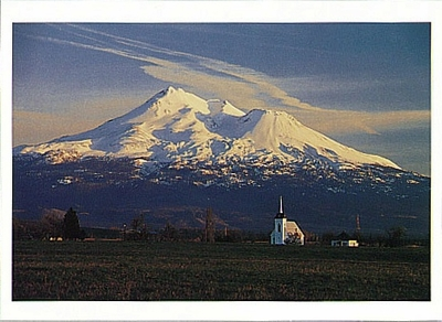 CHUCK MITCHELL - MOUNT SHASTA WITH WINTER SNOW CAP AND A CHURCH AT SUNDOWN, LITTLE SHASTA, CA - HOLIDAY CARD