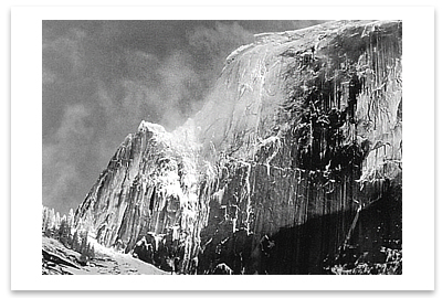 HALF DOME, BLOWING SNOW, YOSEMITE NATIONAL PARK, CA, c 1955 - ANSEL ADAMS NOTECARD