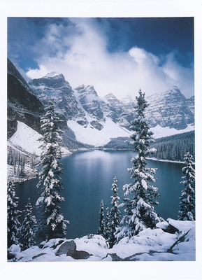 ALAN MAJCHROWICZ - AUTUMN SNOWFALL ON MORAINE LAKE, BANFF NATIONAL PARK, ALBERTA, CANADA - HOLIDAY CARD