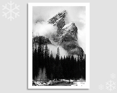 "THREE BROTHERS, WINTER STORM, YOSEMITE NATIONAL PARK - JEFF NIXON HOLIDAY CARD ""SEASON'S GREETINGS"""