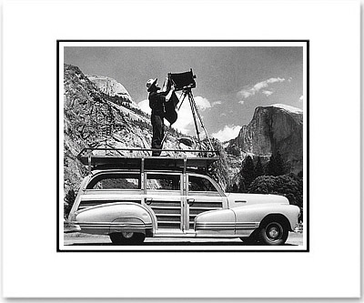ANSEL ADAMS PHOTOGRAPHING IN YOSEMITE - SMALL MATTED REPRODUCTION