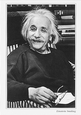 EINSTEIN SMILING,  SMALL POSTCARD