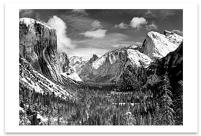 YOSEMITE VALLEY FROM INSPIRATION POINT, WINTER, YOSEMITE NATIONAL PARK, CA, c 1940 - ANSEL ADAMS LARGE POSTCARD