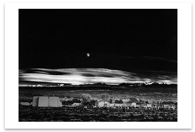 MOONRISE, HERNANDEZ, NEW MEXICO, c 1941 - ANSEL ADAMS LARGE POSTCARD