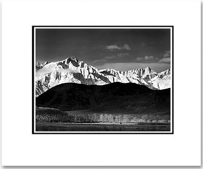 "WINTER SUNRISE, SIERRA NEVADA                            Large Matted Ansel Adams  Reproduction  (16""x 20"")"