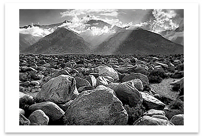 MOUNT WILLIAMSON, SIERRA NEVADA FROM MANZANAR, CA, 1944  - ANSEL ADAMS LARGE POSTCARD