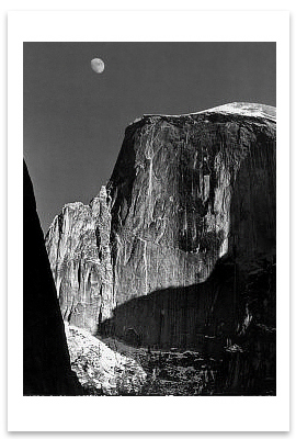 MOON AND HALF DOME, YOSEMITE NATIONAL PARK, CA, c 1960 - ANSEL ADAMS LARGE POSTCARD