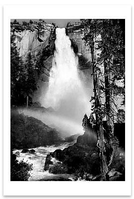 NEVADA FALL, YOSEMITE NATIONAL PARK, CA, c 1947 - ANSEL ADAMS LARGE POSTCARD