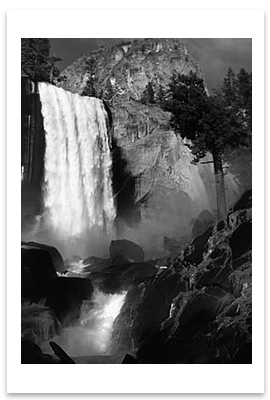 VERNAL FALL, YOSEMITE NATIONAL PARK, CA, c 1948 - ANSEL ADAMS LARGE POSTCARD