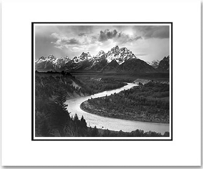 ANSEL ADAMS -  TETONS & THE SNAKE RIVER - SMALL MATTED REPRO