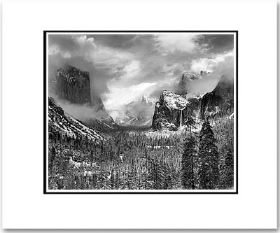 "CLEARING WINTER STORM, YOSEMITE VALLEY.  Large Ansel Adams Matted Reproduction (16"" x 20"")"
