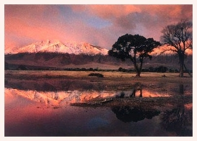 MT TOM AT DAWN WITH CLEARING FALL SNOWSTORM, ROUND VALLEY, CA - HOLIDAY CARDS