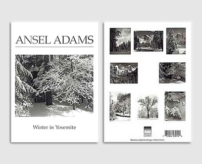 "ASSORTMENT OF 8 IMAGES OF ""WINTER IN YOSEMITE"" BY ANSEL ADAMS - BOXED NOTECARDS (Clear Lid)"