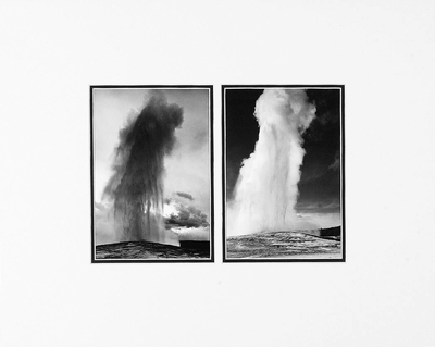 "OLD FAITHFUL GEYSER, YELLOWSTONE NAT'L PARK  Large Ansel Adams Matted Reproduction (16"" x 20"")"