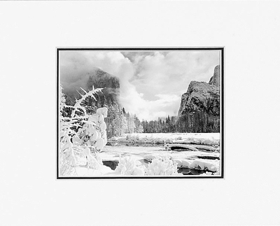 "ANSEL ADAMS - GATES OF THE VALLEY  Large Ansel Adams Matted Reproduction (16"" x 20"")"